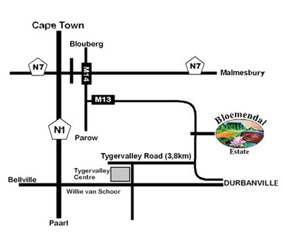 Map Bloemendal Restaurant in Durbanville, Northern Suburbs (CPT), Cape Town, Western Cape, South Africa