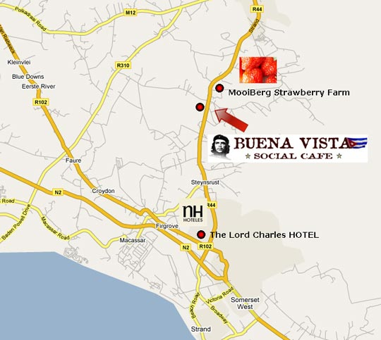 Map Buena Vista Social Cafe - Somerset West in Somerset West, Helderberg, Western Cape, South Africa