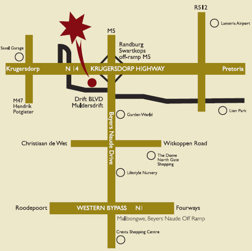 Map Carnivore Restaurant in Muldersdrift, West Rand, Gauteng, South Africa