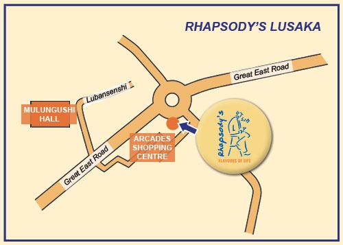 Map Rhapsody's - Lusaka in Lusaka, Zambia
