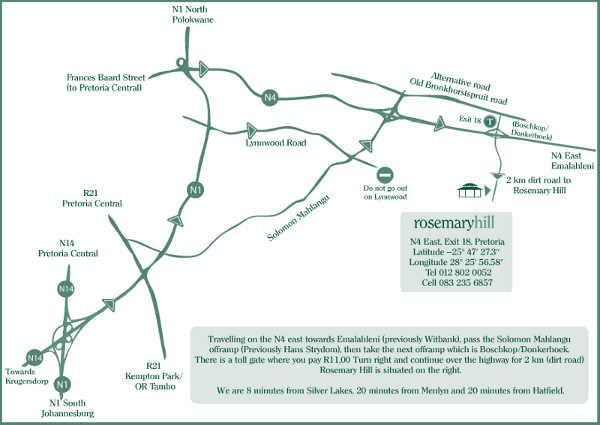 Map Rosemary Hill in Boschkop, Pretoria East, Pretoria / Tshwane, Gauteng, South Africa