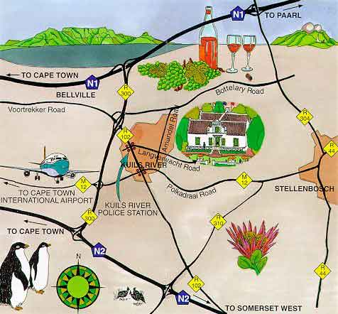 Map Zevenwacht Country Restaurant in Kuils River, Northern Suburbs (CPT), Cape Town, Western Cape, South Africa